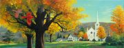 Acrylic painting of a Vermont church by John C. Pitcher