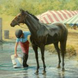 Bathing a horse painting by Sue Westin